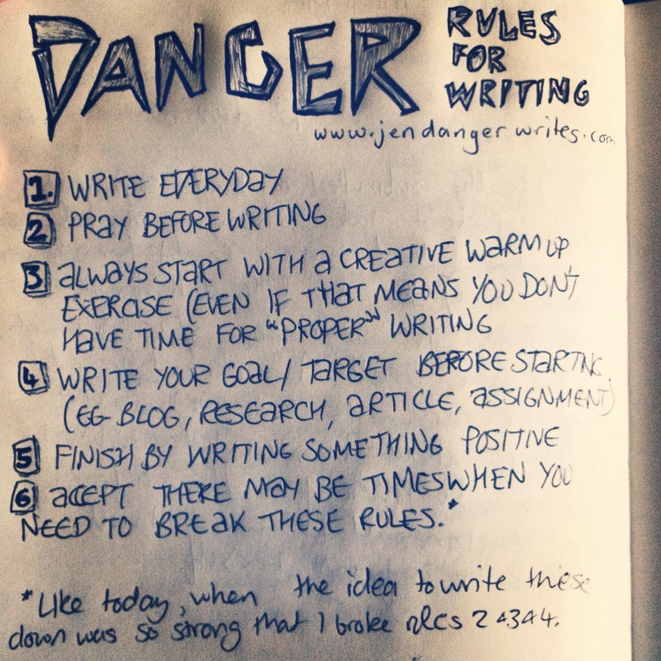 Danger Rules for Writing
